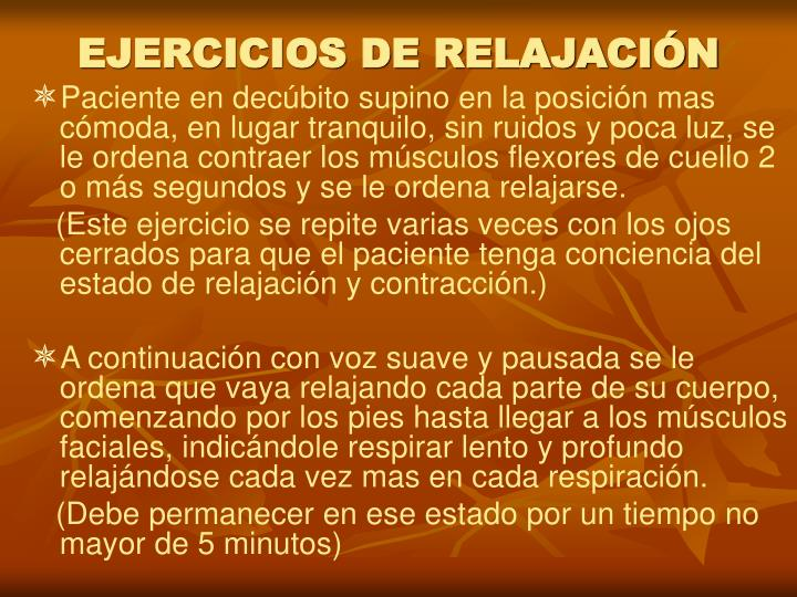 EJERCICIOS DE RELAJACIÓN