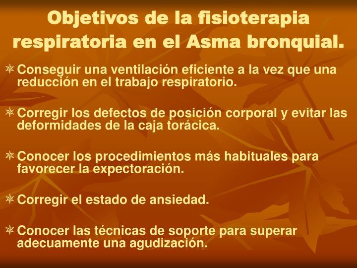 Objetivos de la fisioterapia respiratoria en el Asma bronquial.