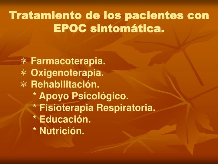 Tratamiento de los pacientes con EPOC sintomática.