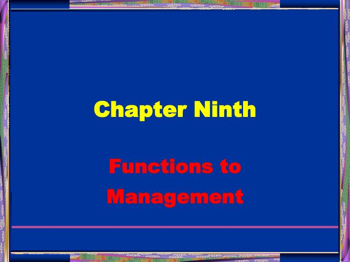 Chapter Ninth
