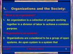 organizations and the society