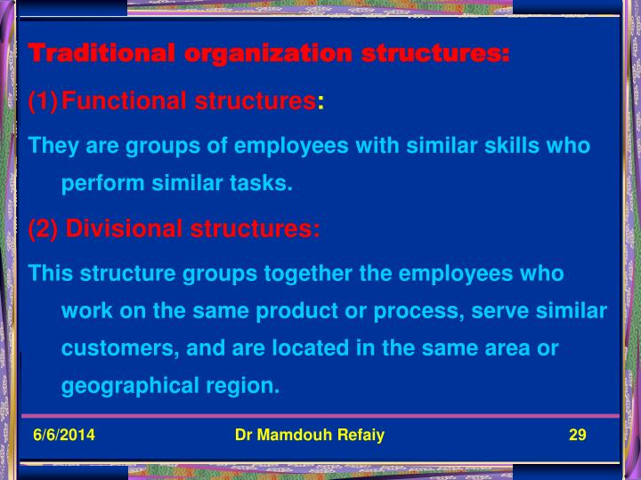 Traditional organization structures: