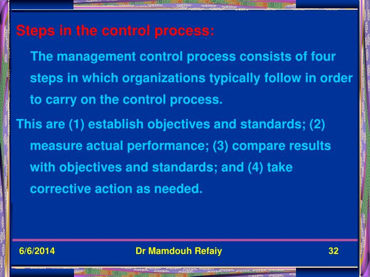 Steps in the control process: