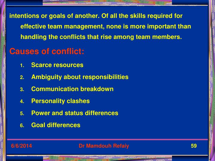 intentions or goals of another. Of all the skills required for effective team management, none is more important than handling the conflicts that rise among team members.