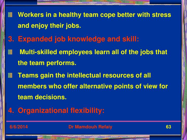 Workers in a healthy team cope better with stress and enjoy their jobs.