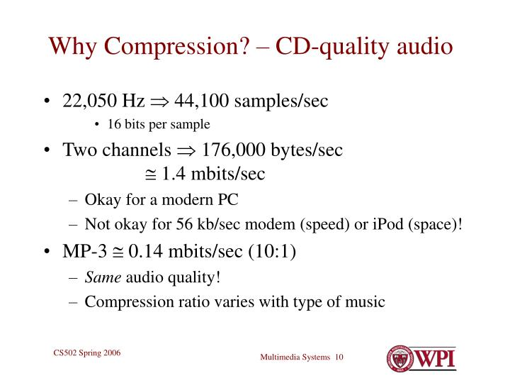 Why Compression? – CD-quality audio