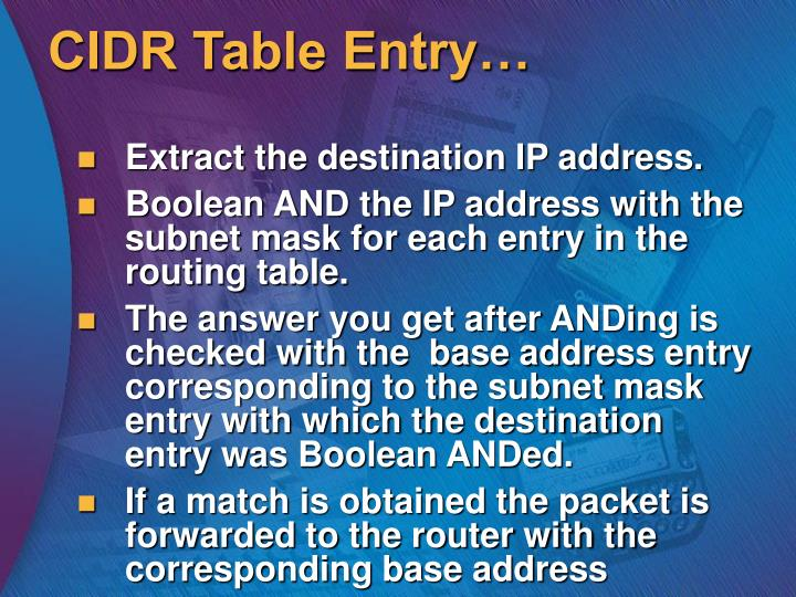 CIDR Table Entry…