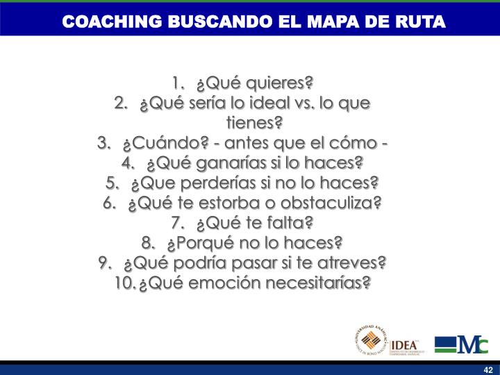 COACHING BUSCANDO EL MAPA DE RUTA