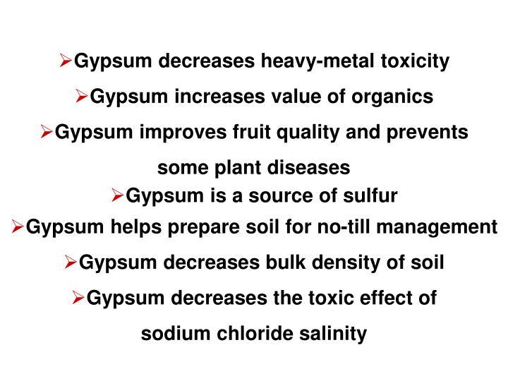 Gypsum decreases heavy-metal toxicity