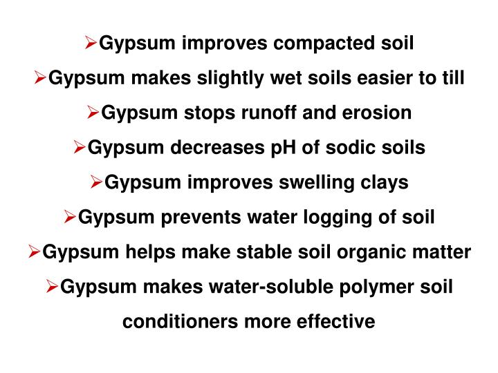 Gypsum improves compacted soil