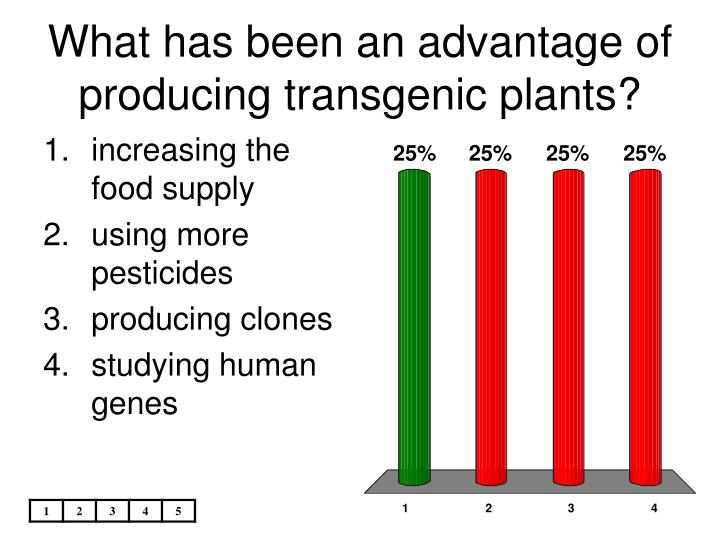 What has been an advantage of producing transgenic plants?