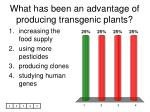 what has been an advantage of producing transgenic plants