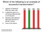 which of the following is an example of successful transformation