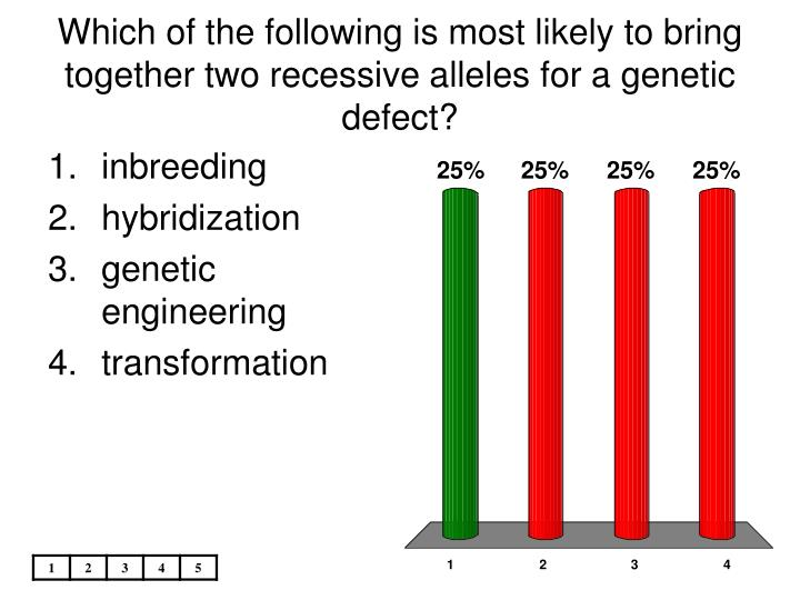 Which of the following is most likely to bring together two recessive alleles for a genetic defect?