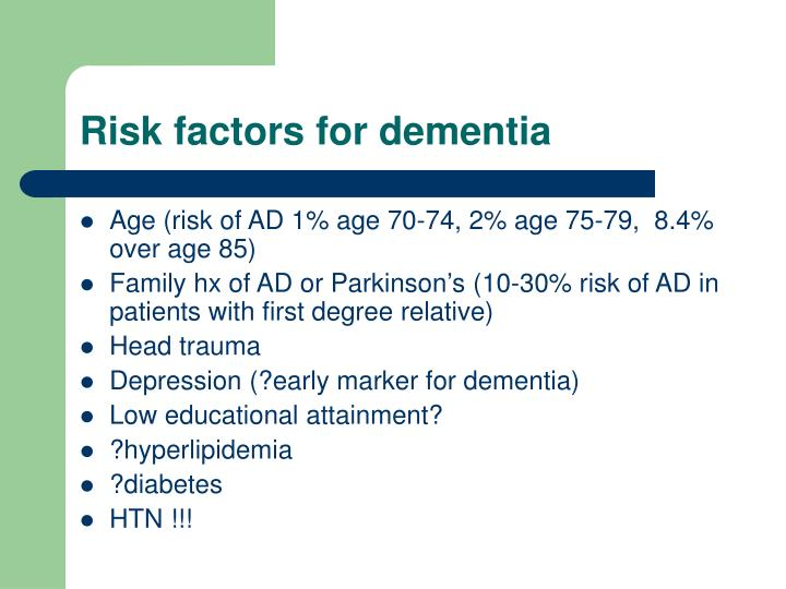 Risk factors for dementia