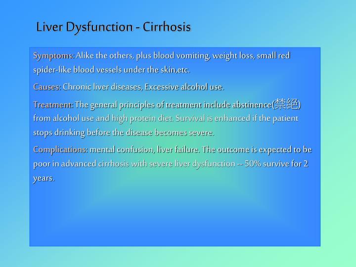 Liver Dysfunction - Cirrhosis