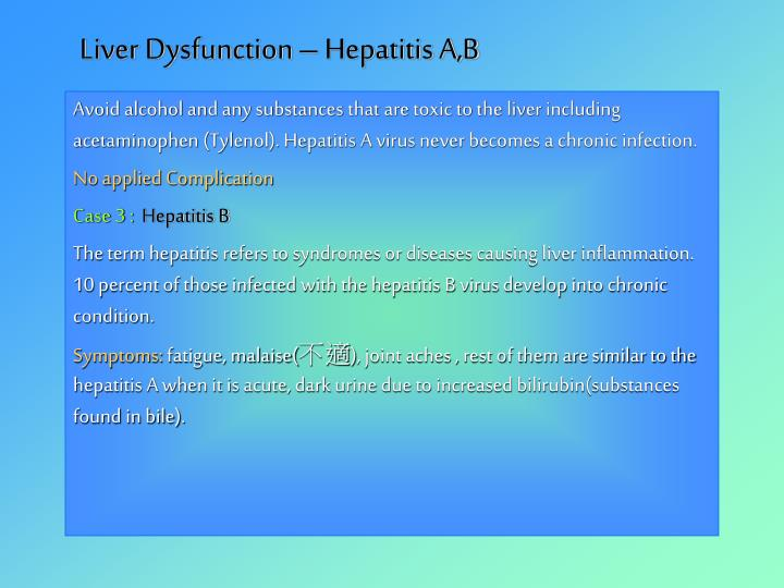 Liver Dysfunction – Hepatitis A,B