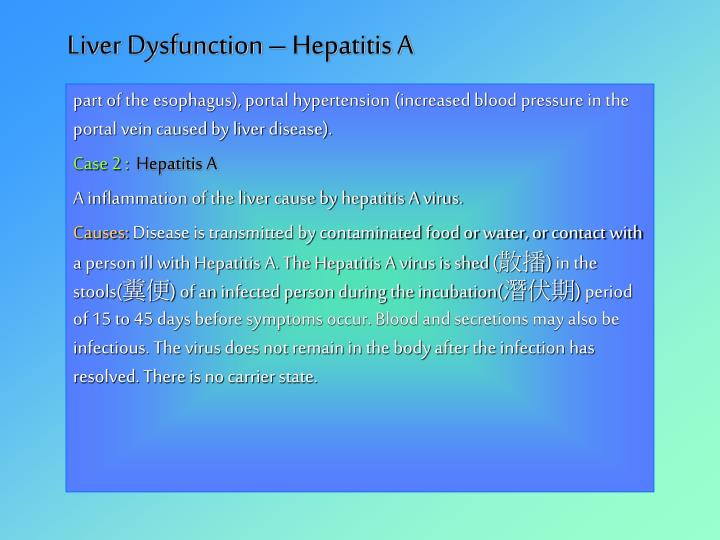 Liver Dysfunction – Hepatitis A