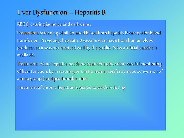 Liver Dysfunction – Hepatitis B