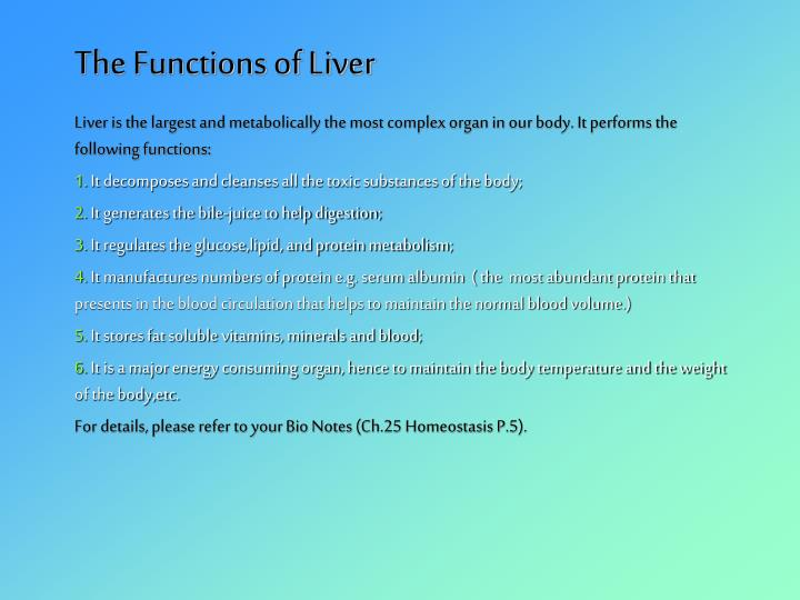 The Functions of Liver