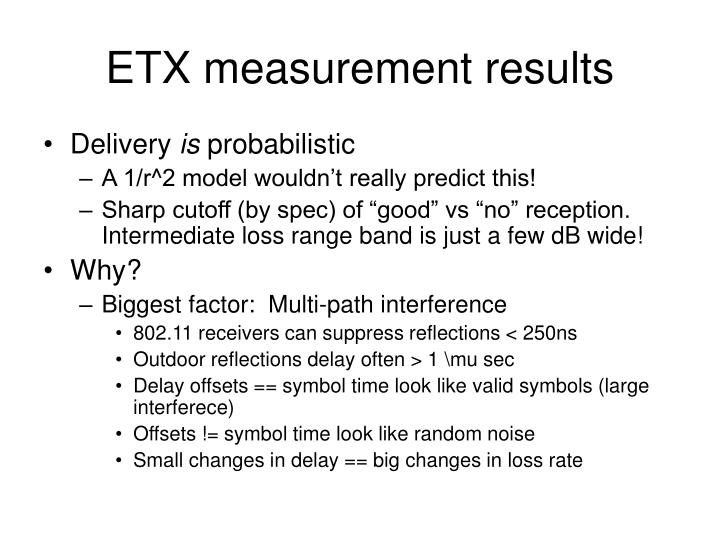 ETX measurement results