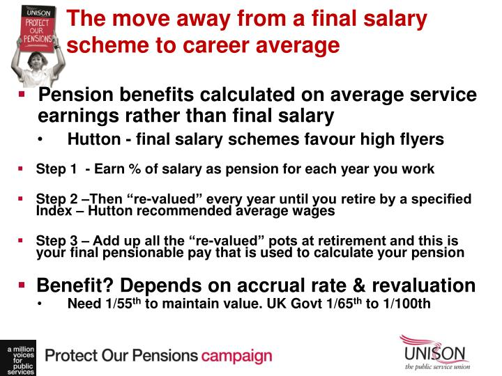 The move away from a final salary scheme to career average