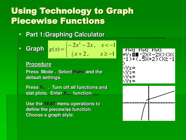 Using Technology to Graph Piecewise Functions