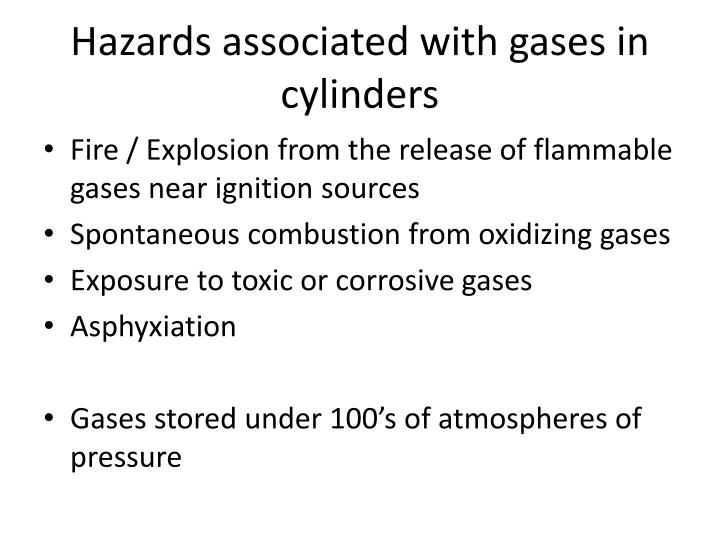 Hazards associated with gases in cylinders