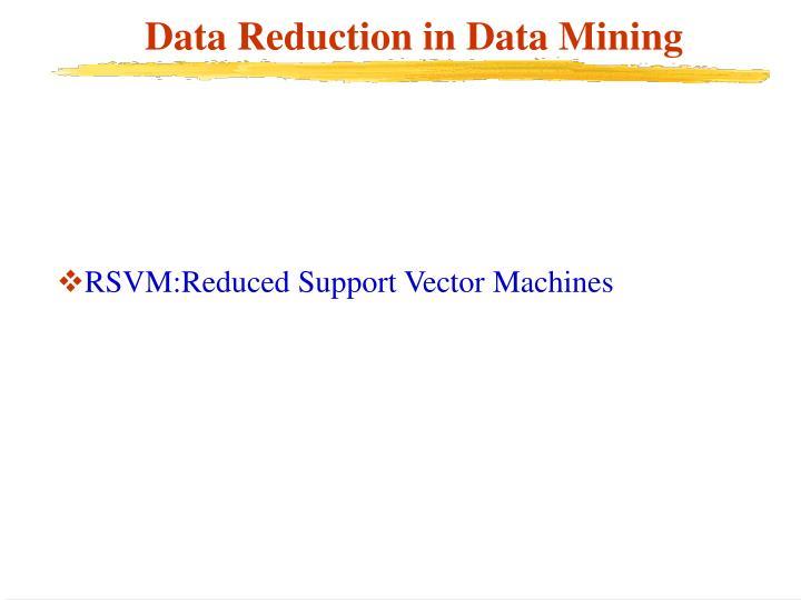 Data Reduction in Data Mining