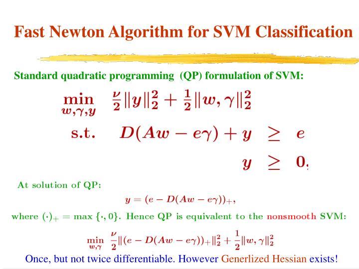 Standard quadratic programming  (QP) formulation of SVM: