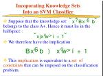 incoporating knowledge sets into an svm classifier