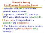 numerical testing dna promoter recognition dataset