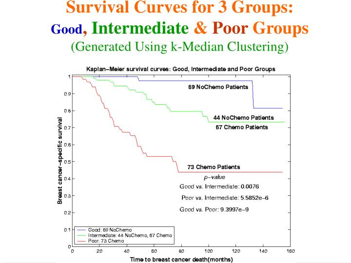 Survival Curves for 3 Groups: