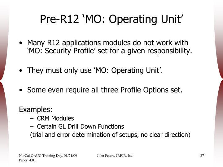 Pre-R12 'MO: Operating Unit'
