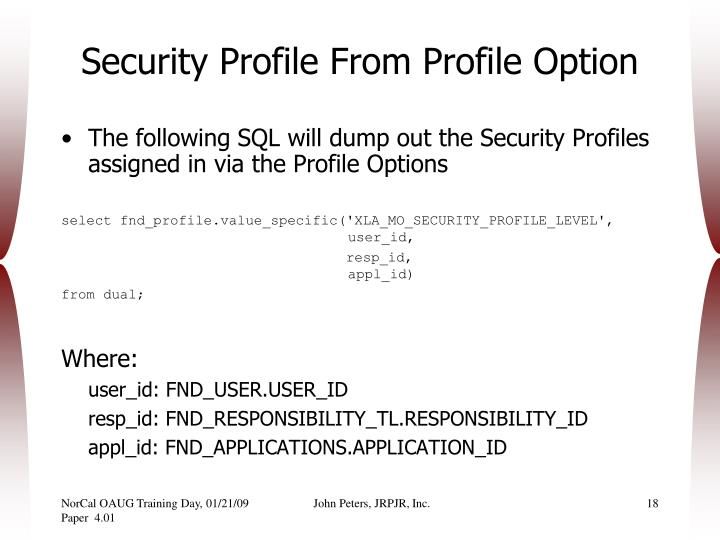 Security Profile From Profile Option