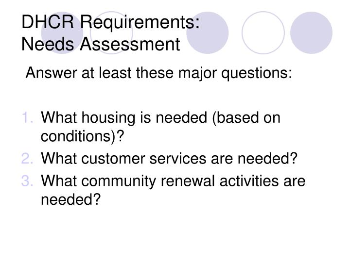 DHCR Requirements: