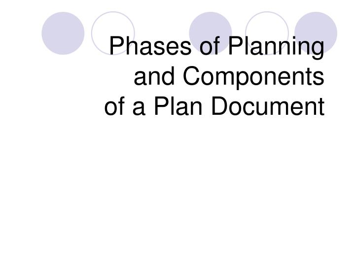 Phases of Planning