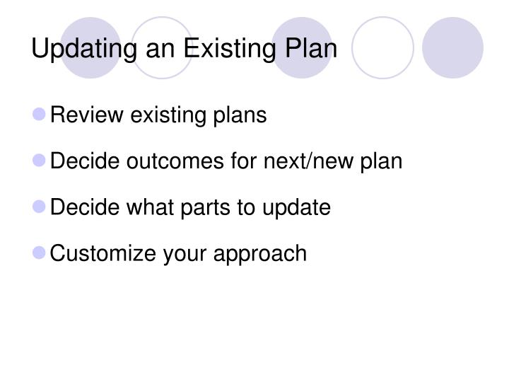 Updating an Existing Plan