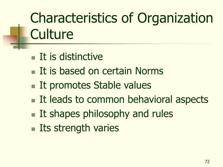 Characteristics of Organization Culture