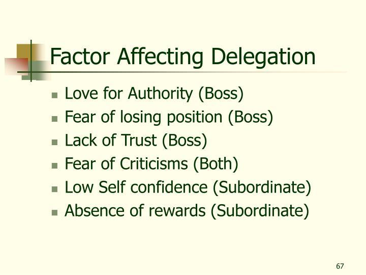 Factor Affecting Delegation