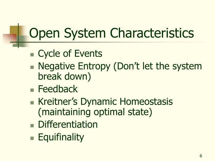 Open System Characteristics