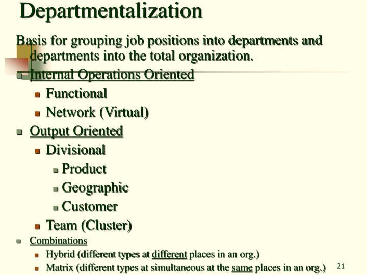Departmentalization