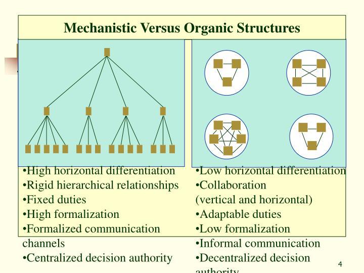 Mechanistic Versus Organic Structures
