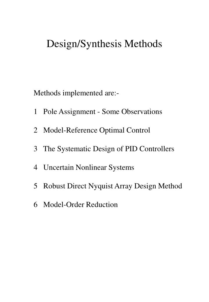 Design/Synthesis Methods