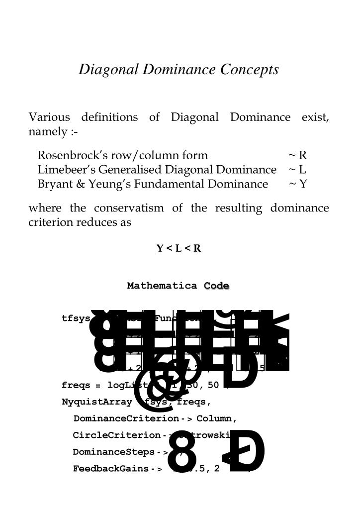 Diagonal Dominance Concepts