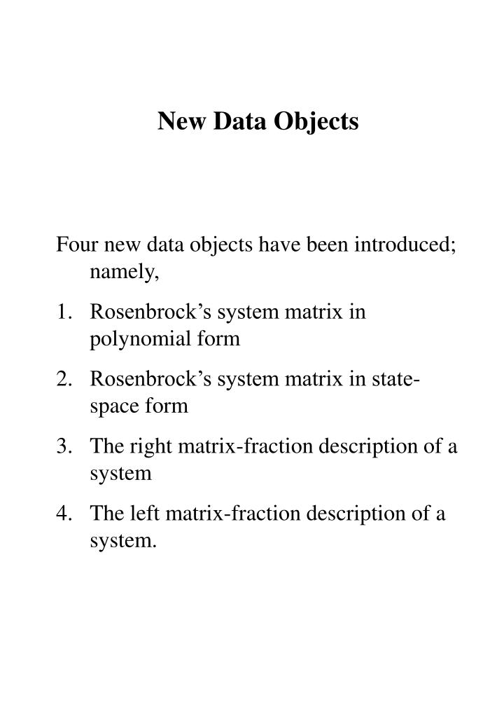 New Data Objects