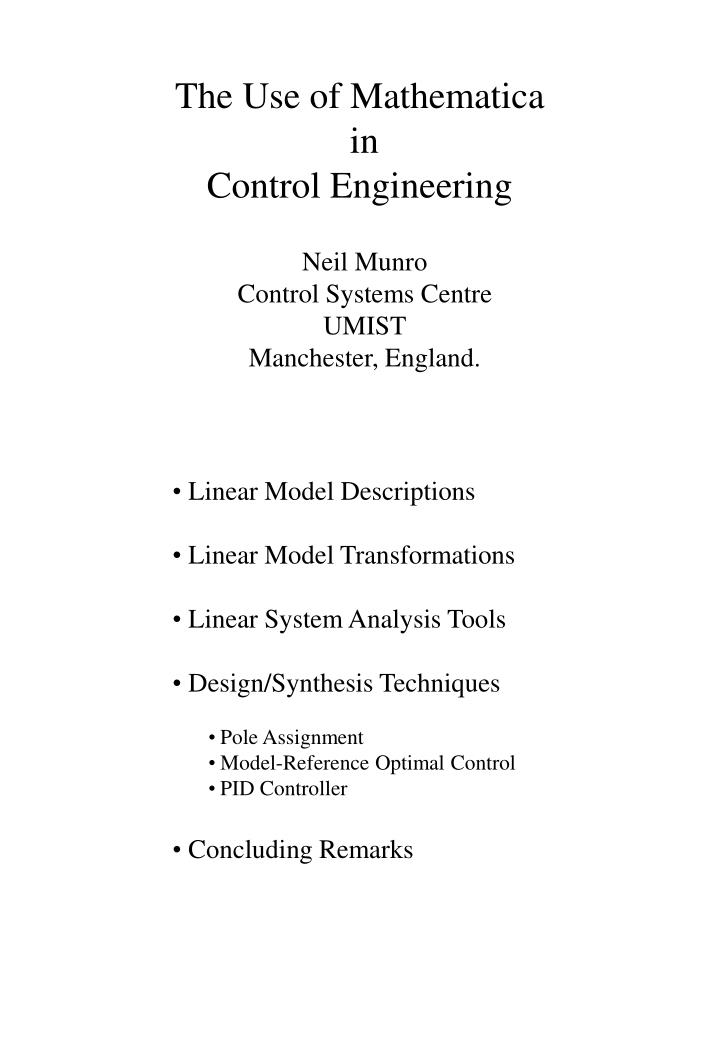 the use of mathematica in control engineering