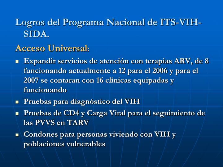 Logros del Programa Nacional de ITS-VIH-SIDA.