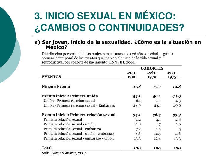 3. INICIO SEXUAL EN MÉXICO: ¿CAMBIOS O CONTINUIDADES?