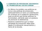 6 campa as de prevenci n abstinencia vs promoci n del uso de cond n